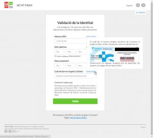 Captura de pantalla de l'idCAT Mòbil
