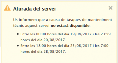 Aturada tècnica dels serveis SEU-e, Transparència i e-TAULER