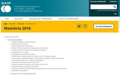 La GAIP presenta la memòria anual de 2016 al Síndic de Greuges