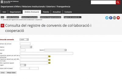 El Registre de Convenis de col·laboració i cooperació registra 281 trameses en un mes