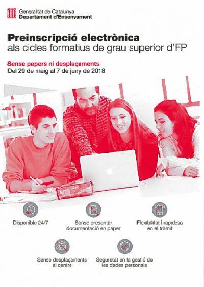 La preinscripció als cicles formatius de grau superior d'FP es pot fer amb idCATMòbil