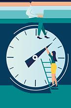 Rellotge amb una home amb el seu portàtil treballant mentre una dona pujada a una escala fa avançar l'agulla