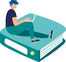 Persona amb portàtil estirada a sobre d'un arxivador