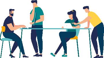 Icona amb persones treballant i comentant al voltant d'una taula de treball.