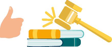 Icona llibres i un martell de jutge que pica a sobre