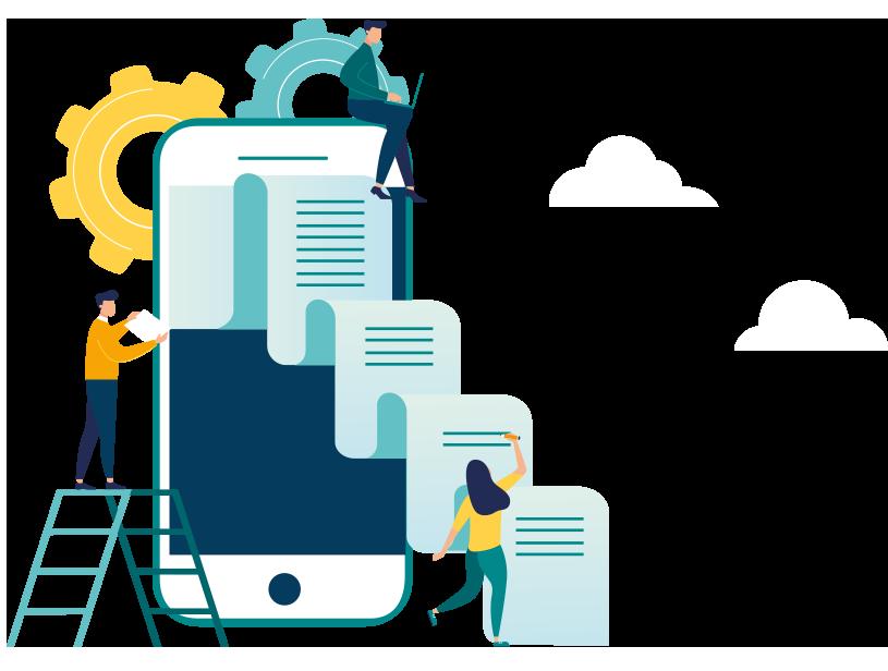 Imatge servei RPC amb un mòbil gegant del que surten documents