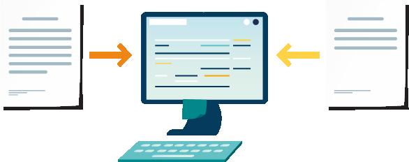 Icona amb una pantalla d'ordinador amb documents a totes dues bandes
