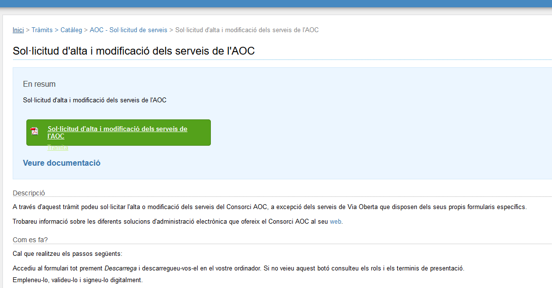 EACAT procedure request screen for AOC services