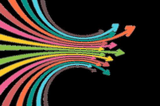 Fleches de colors amb direcció esquerra dreta