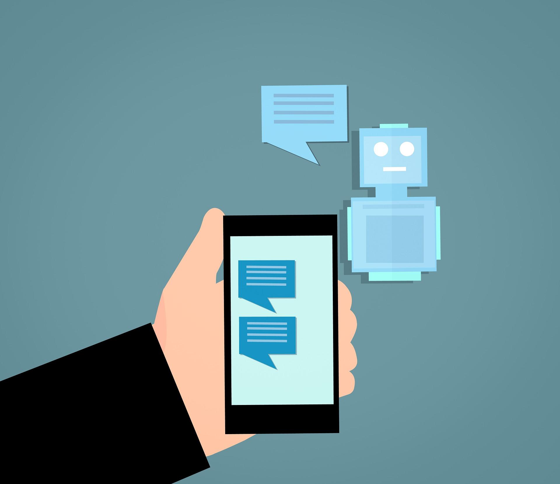 Icona d'una mà sostenint un mòbil amb un xat amb un robot