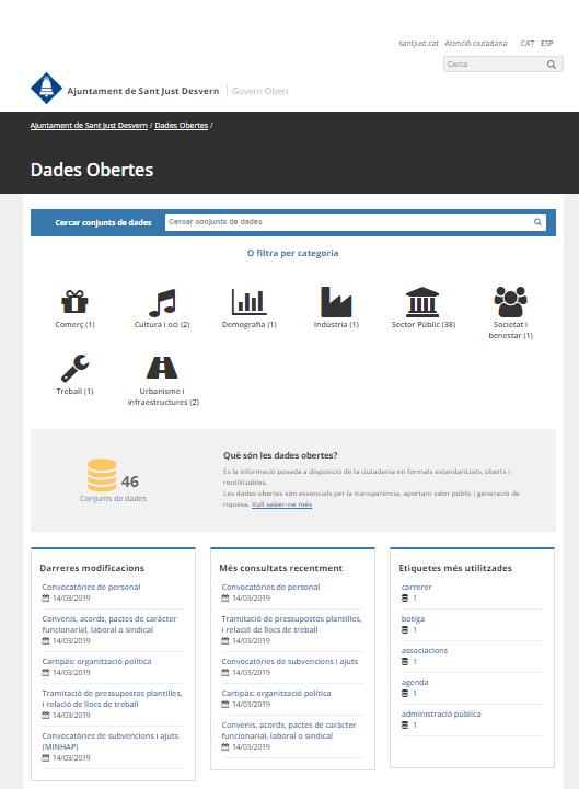Portal de dades obertes de l'Ajuntament de Sant Just Desvern