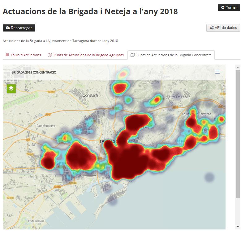 Mapa de l'Ajuntament de Tarragona que mostra les actuacions de la brigada i neteja al'any 2018