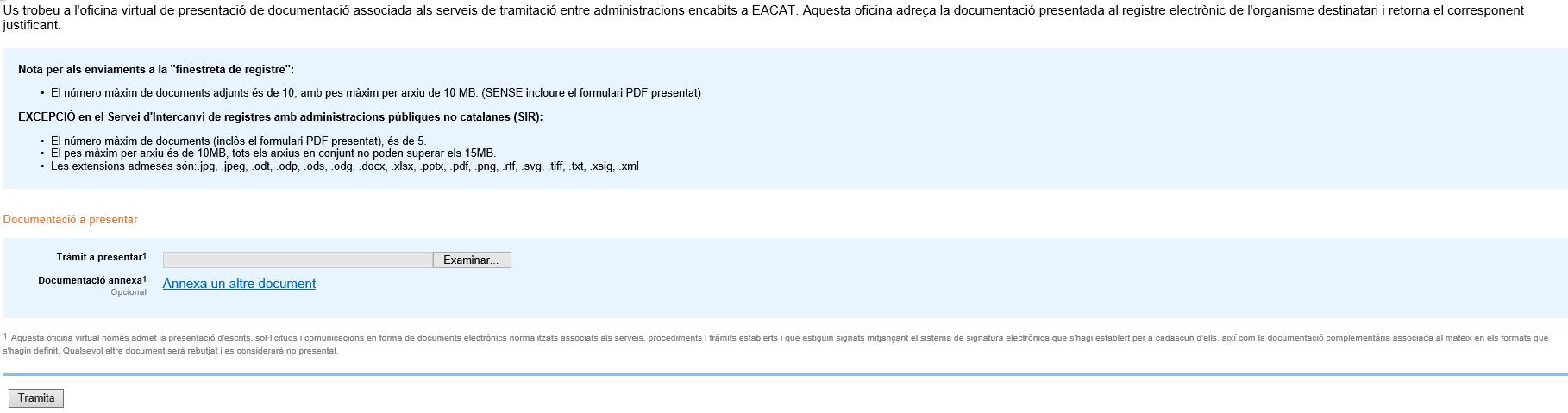 Finestreta de registre d'EACAT