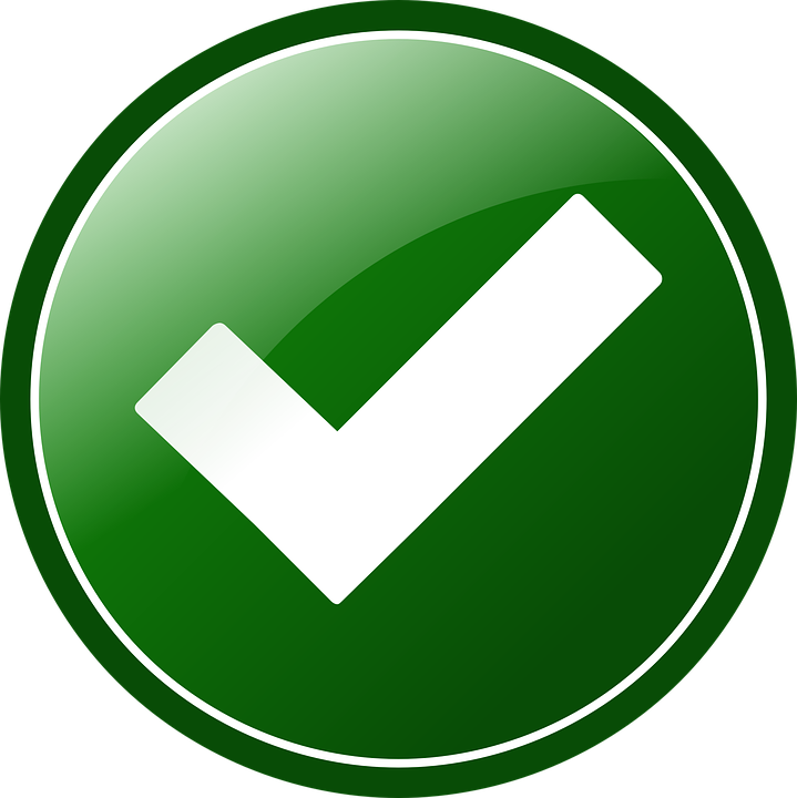 Botó d'aprovació. Botó rodó de fons verd amb una V