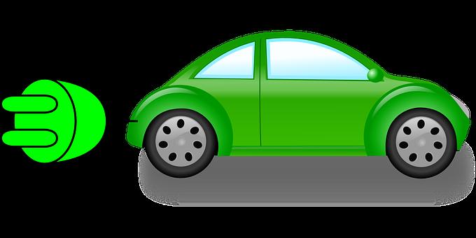 Dibuix de cotxe verd amb un endoll