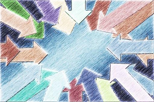 Fletxes de diferents colors que conflueixen en un centre