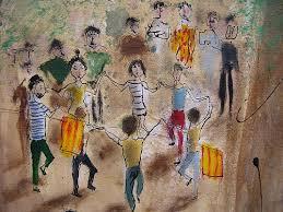 Un dibuix d'uns nois i noies que ballen sardanes