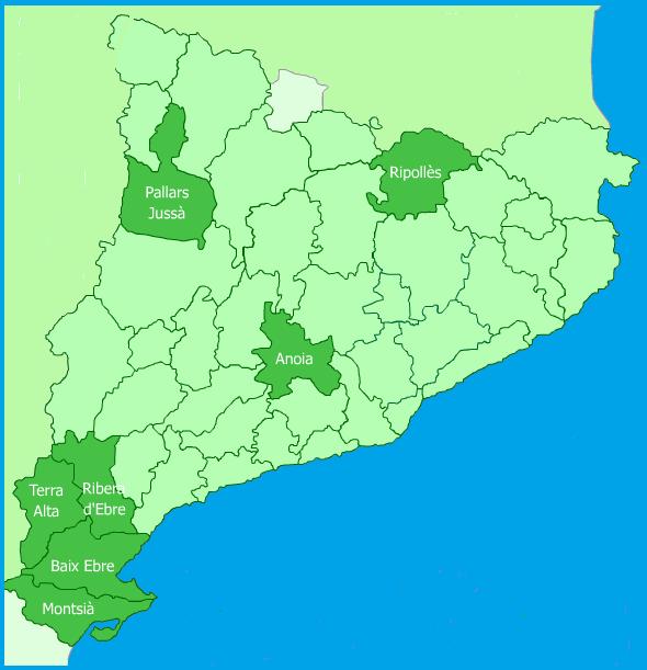Mapa de Catalunya amb les 7 comarques marcades
