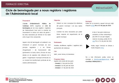 Cicle de benvinguda per a nous regidors i regidores de l'Administració local