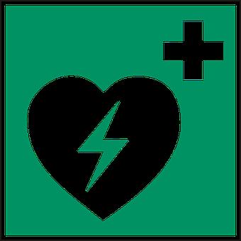 Un cor amb un signe de més i un raig dins del cor