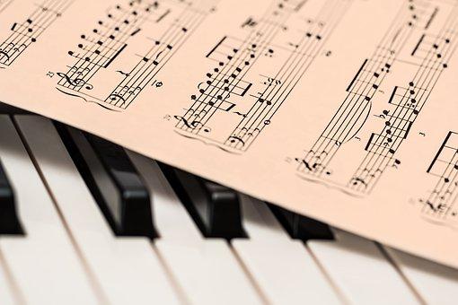 Partitura sobre les tecles del piano