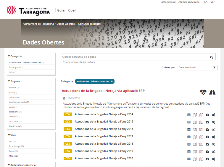 Actuacions de la brigada municipal al portal de dades obertes de l'Ajuntament de Tarragona