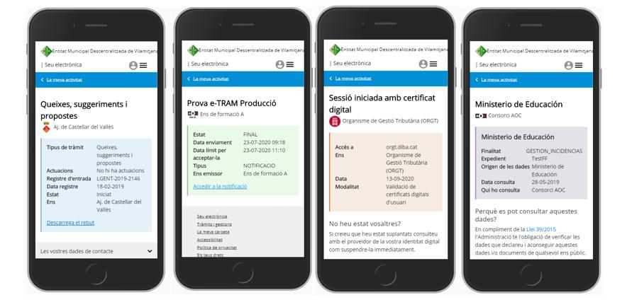 Exemple d'informació disponible a MyGov  en pantalla de dispositiu mòbil