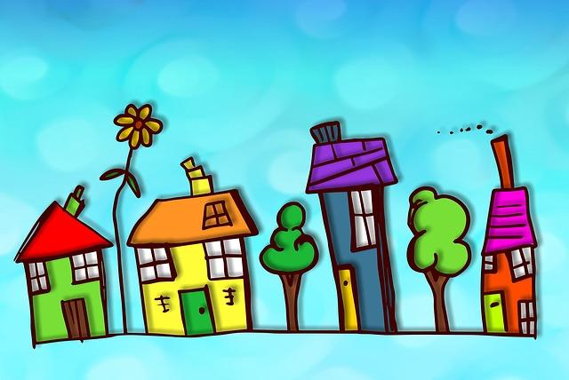 Dibuix d'un carrer amb habitatges de colors i arbres