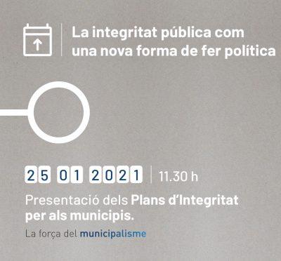 """Presentació del projecte """"Plans d'integritat per a l'administració local"""""""